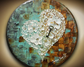 ORIGINAL Art Abstract Painting Heart Key Acrylic Oil Painting Blue Brown Texture Painting Round Circle Home Decor Mixed Media