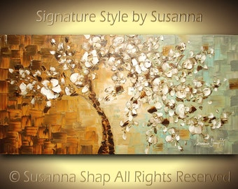 Large Tree Painting ORIGINAL Abstract Landscape Oil Painting White Cherry Blossom Pallette Knife Textured Art Wall Decor by Susanna 48x24