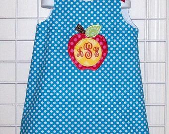 School Apple Applique Monogram Initials Turquoise Dot A-line Dress - PreK Dress - Kindergarten Dress - Party Dress - Back to School