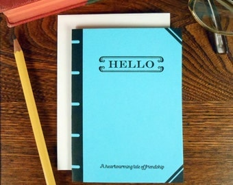 letterpress hello book cover greeting card heartwarming tale of friendship blue book lover