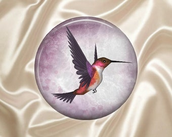 Purple Hummingbird - Glass Image Cabochon - Choice of 20mm, 25mm and 30mm Round