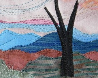 Fabric Postcard, Handmade Mountain Landscape Quilted Greeting Card, Postcard Art