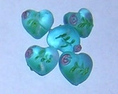 TURQUOISE BLUE Matte heart shaped Lampwork bead with flower design (5) 18 MM
