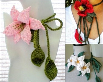 Instant Download 3 PDF Knit Flower Pattern Set - Plumeria Lariat, Lily Lariat, Red Blossom Lariat