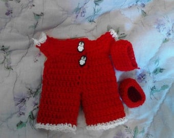 Red Pajama For 6.5in Curly Girl Dolls