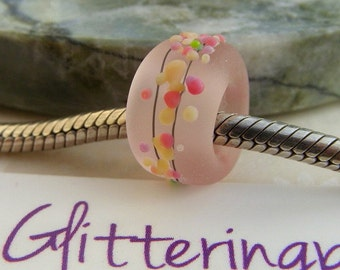Lampwork European Charm Bead With Large Hole Pink Cherry Blossom