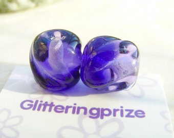 Lampwork Beads Glass Purple Two Tone Twists
