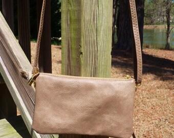Tan Crossbody, Shoulder Bag, Wristlet or Clutch