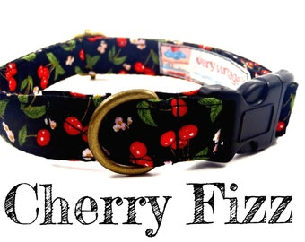 "Black Dog Collar - Red Cherry Dog Collar - Retro Dog Collar - Organic Cotton Dog Collar - All Antique Brass Hardware - ""Cherry Fizz"""