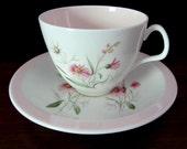 Foley Bone China Pink and White Floral Teacup and Saucer Set From England