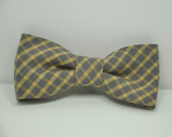 Boy's Bow Tie Yellow and Gray Windowpane Plaid Bowtie Toddler Baby Teen