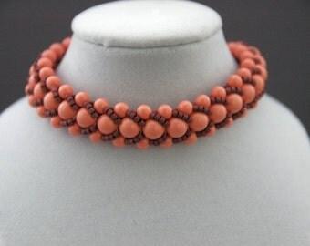 Pink Swarovski Pearls and Berry Delicas Flat Spiral Bracelet