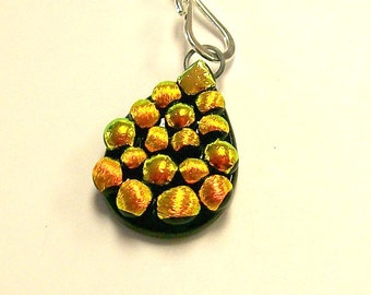 Fused Glass Dichroic Tear Drop Pendant/ necklace (Yellows)
