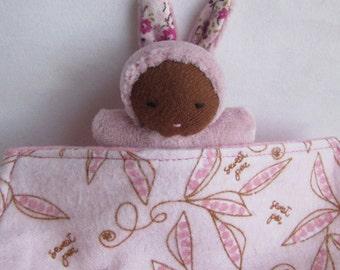 Waldorf doll, Easter bunny, black baby, Germandolls, Pocket Doll, Steiner doll, handmade toy