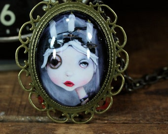 Steampunk Pop Surrealism Lowbrow Borrowed Time Candle Girl Necklace