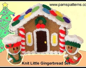 Knit Little Gingerbread Patterns, gingerbread house, gingerbread dolls, Christmas knit patterns