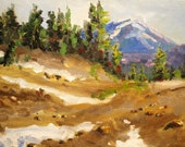 Mountain Landscape Oil Painting, Original Small 6x8 on Canvas, Trees, Snow, Alpine Trail, Blue, Brown, Green, Field, Oregon Cascades