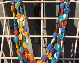 Pretty Multi Color Stone Look Plastic Beaded 4 Strand Necklace Lot 3
