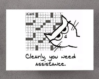 Angry Cat Helps with the Crossword - Funny Note Card for Cat Lovers and Crossword Puzzle lovers