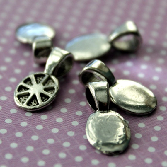 5 Silver Tone Oval Glue On Bails Pendant Bails From