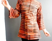 Wild Life - iheartfink Handmade Hand Printed Bell Sleeve Rust Orange Striped Jersey Top