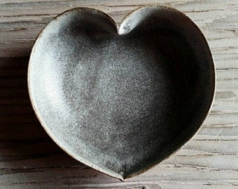 stormy grey heart bowl - 4 inches - ring holder