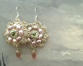 Floral Pearl Earrings, Pink Pearl Bridal Earrings, Bridal Crystal Drop Earrings, Gold and Silver Earrings, Wedding Jewlery