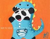 Baby Panda Illustration. Art. Panda in a Dinosaur Suit. Orange. Cute Animal. Nursery Art. Signed by the artist - DinoPanda de cutie.