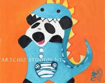 Baby Panda Illustration. Art. Panda in a Dinosaur Suit. Orange. Cute Animal. Nursery Art. Signed by the artist - DinoPanda de cutie.