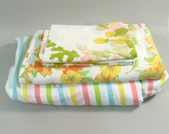 Vintage Full sheet set, remixed mix and match, mid century modern sheets, colorful sheets, floral sheets, candy stripes, flower power floral