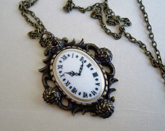 Steampunk Necklace, Vintage Brass Ox Casting,Great for Gift Giving, Nice Solid Quality Metal With Clock Face Setting, Handmade, USA