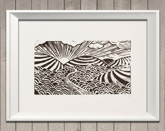 Valley landscape Art print (Lino cut)