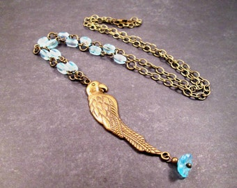 Parrot Necklace, Brass Bird and Blue Flower Charm, Beaded Pendant Necklace, FREE Shipping U.S.