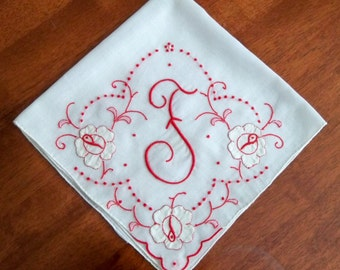 Vintage Monogram F Handkerchief with Red Madeira Embroidery