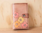 iPhone 6 Plus Wallet Case - Leather iPhone 6 Case in the Poppy Garden pattern - Pink Flower iPhone case