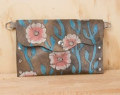 Pouch - Clutch - Wristlet - Waist Bag - Small Purse - Make-up Bag - Leather in the Aurora Pattern - Pink, turquoise, white and antique black
