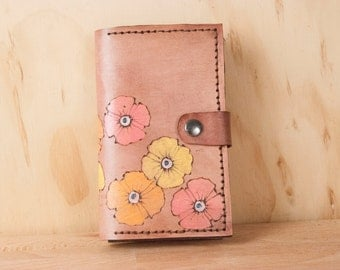 iPhone 6 Plus Wallet Case - Leather iPhone 6 Case in the Poppy Garden pattern - Pink Flower case - Handmade for iPhone 5, 6, 6+, SE, 7 or 7+