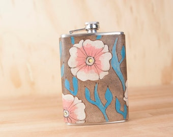 Flask - Leather Flask - Flower Flask - 8oz Flask - Handmade in the Aurora pattern with flowers and vines in pink, turquoise, antique black