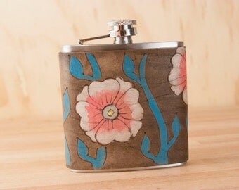 Flask - Leather Flask - Flower Flask - 6oz Flask - Handmade in the Aurora pattern with flowers and vines in pink, turquoise, antique black