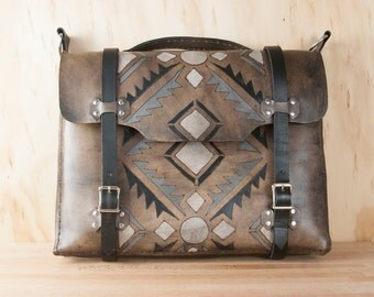 Handmade Leather Briefcase - For Men or Women - Four Corners Pattern with SW inspired Geometric design - black, white, gray + antique black