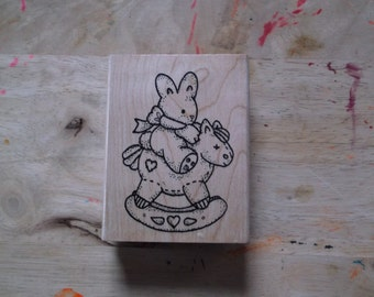 Bunny on Rocking Horse Rubber Stamp