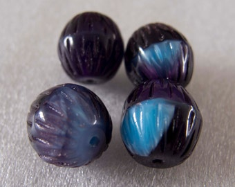Vintage Beads West German Molded Pearlescent Blue & Purple Etched Barrel Glass Beads - 12mm - Lot of 4
