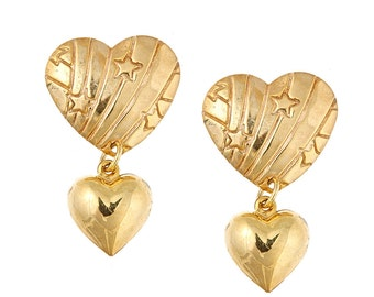 Gold plated heart, stars, and stripes charm dangle earrings. Cute, 1980's Rainbow Brite, cute, fun, teen, Valentine's Day, limited edition,