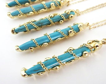 Gold dipped turquoise pendent necklace. Boho, layered, southwestern, everyday, simple, blue, natural stone, trendy, native american, limited