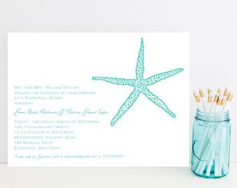 10 Starfish Wedding Rehearsal Dinner Invitations - Beach Rehearsal Invitation