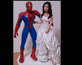 Superhero and Bride Custom Wedding Cake Topper - Personalized - Bride Made to Look Like You