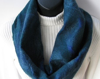 Women's Cowl Scarf - Brilliant Blue and Tartan Green Silk and Wool Nuno Felted Scarf Winter Fashion Gift for Her