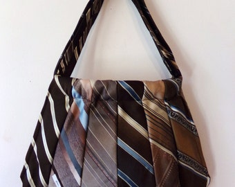 Reversible Tie Purse- Browns and Blues