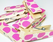 Chunky Washi Covered Clothespins - set of 8 Pink Dots