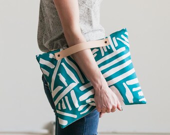 Teal Marks Oversized Clutch